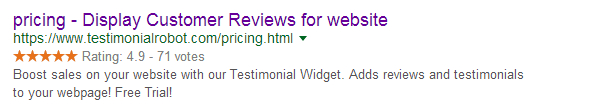 rich snippet ratings in Google